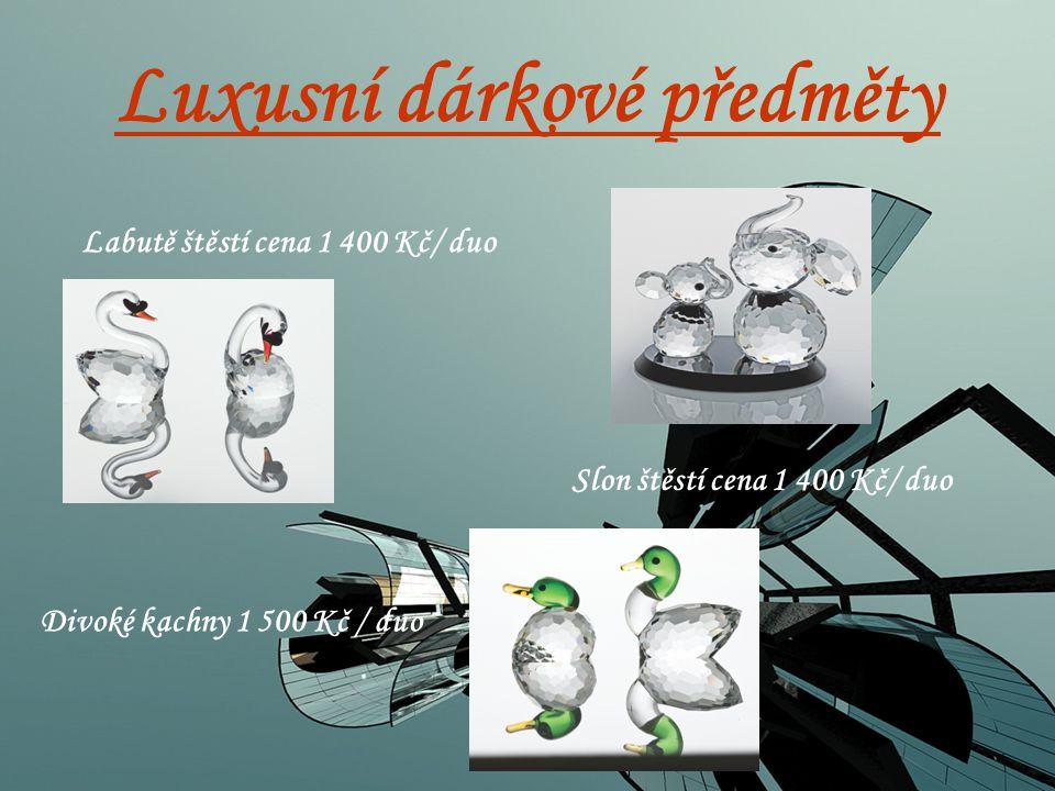 Luxusní dárkové předměty Labutě štěstí cena 1 400 Kč/ duo Slon štěstí cena 1 400 Kč/ duo Divoké kachny 1 500 Kč / duo