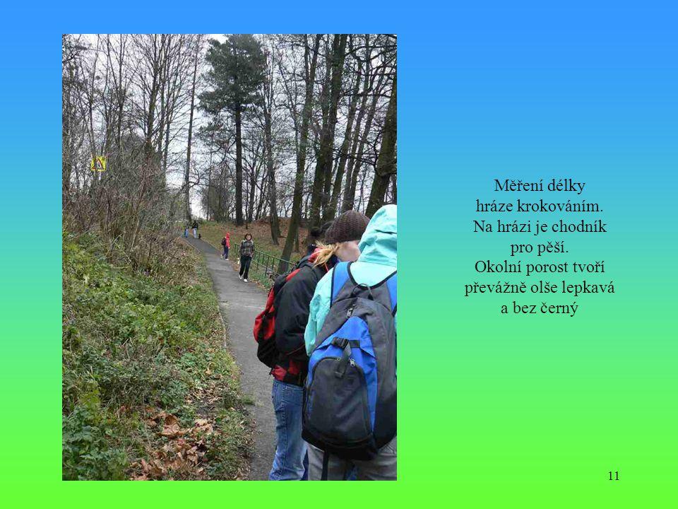 11 Měření délky hráze krokováním. Na hrázi je chodník pro pěší. Okolní porost tvoří převážně olše lepkavá a bez černý