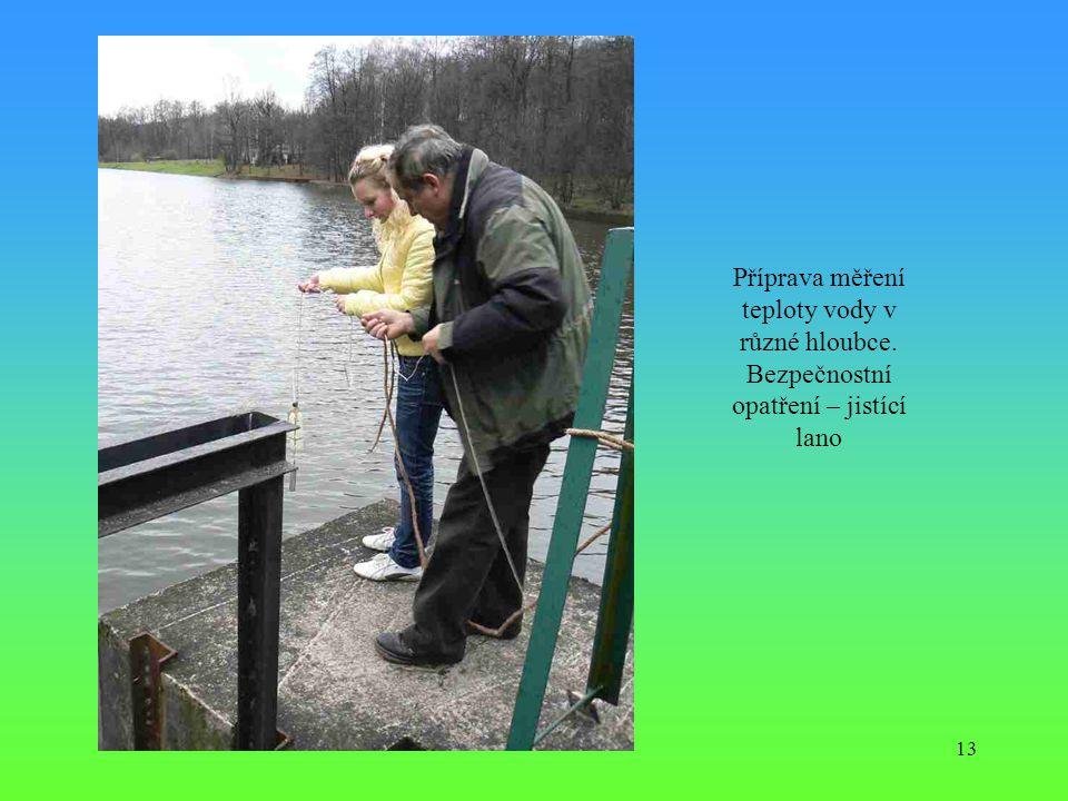 13 Příprava měření teploty vody v různé hloubce. Bezpečnostní opatření – jistící lano
