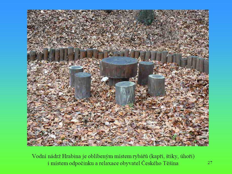 27 Vodní nádrž Hrabina je oblíbeným místem rybářů (kapři, štiky, úhoři) i místem odpočinku a relaxace obyvatel Českého Těšína