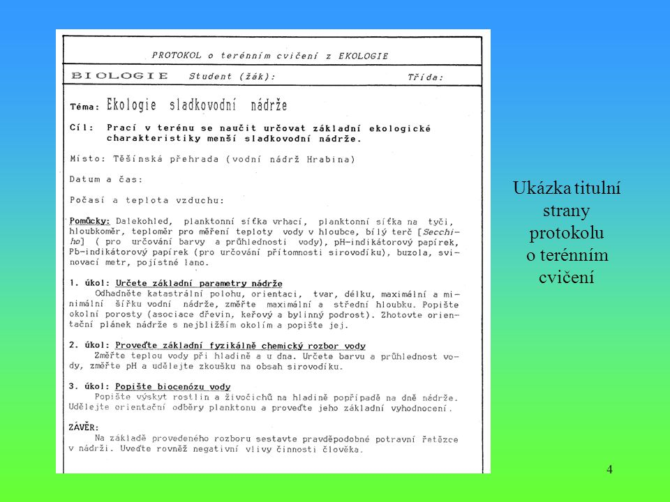 4 Ukázka titulní strany protokolu o terénním cvičení