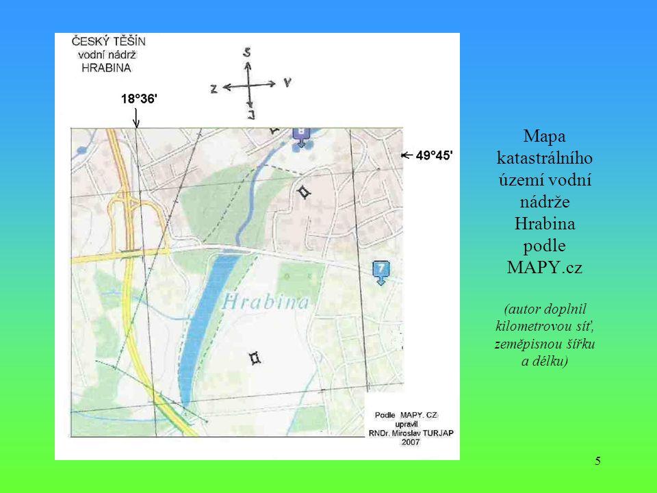 5 Mapa katastrálního území vodní nádrže Hrabina podle MAPY.cz (autor doplnil kilometrovou síť, zeměpisnou šířku a délku)