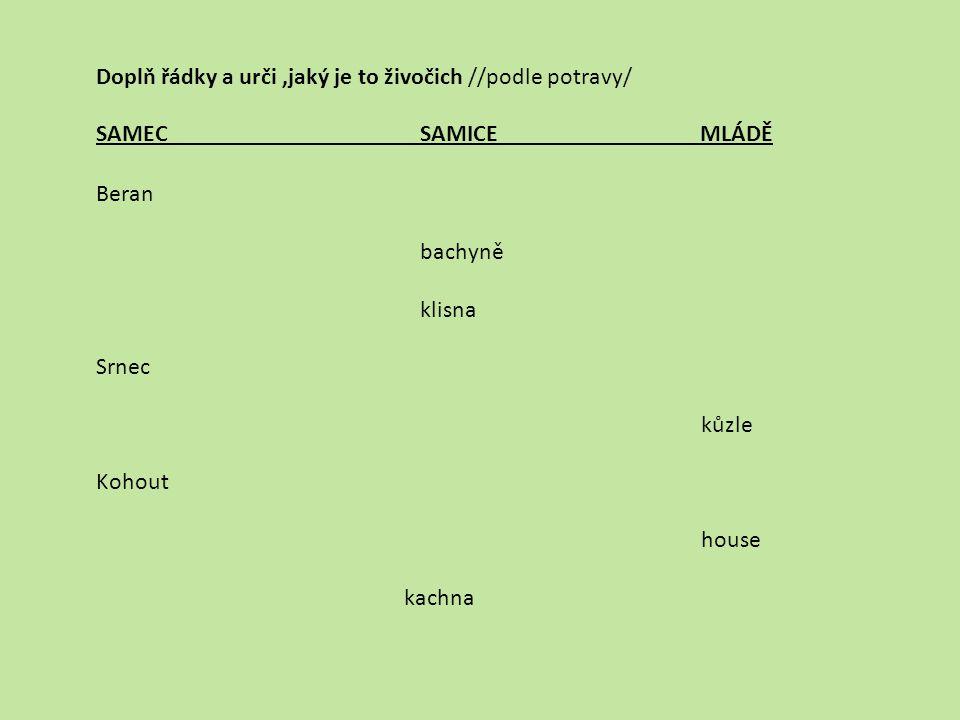 SAMEC SAMICE MLÁDĚ Beran bachyně klisna Srnec kůzle Kohout house kachna Doplň řádky a urči,jaký je to živočich //podle potravy/