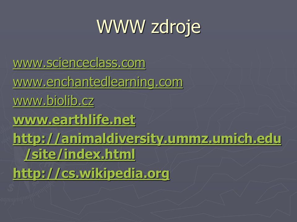 WWW zdroje www.scienceclass.com www.enchantedlearning.com www.biolib.cz www.earthlife.net http://animaldiversity.ummz.umich.edu /site/index.html http: