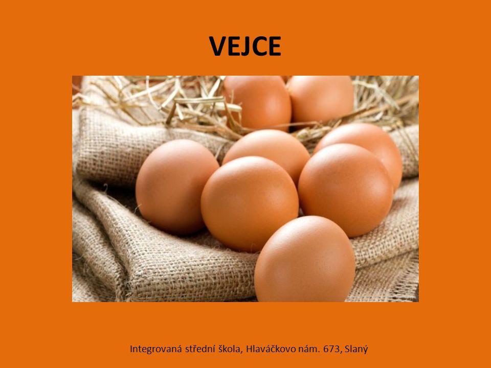BÍLEK koloidní roztok plnohodnotných bílkovin obsahuje minerální látky – Ca, P, Fe, S obsahuje vitamín B 2 má velkou šlehatelnost teplem se sráží – koaguluje čerstvý bílek je hustý, průhledný, čistý, bez krvavých skvrn stářím řídne Integrovaná střední škola, Hlaváčkovo nám.