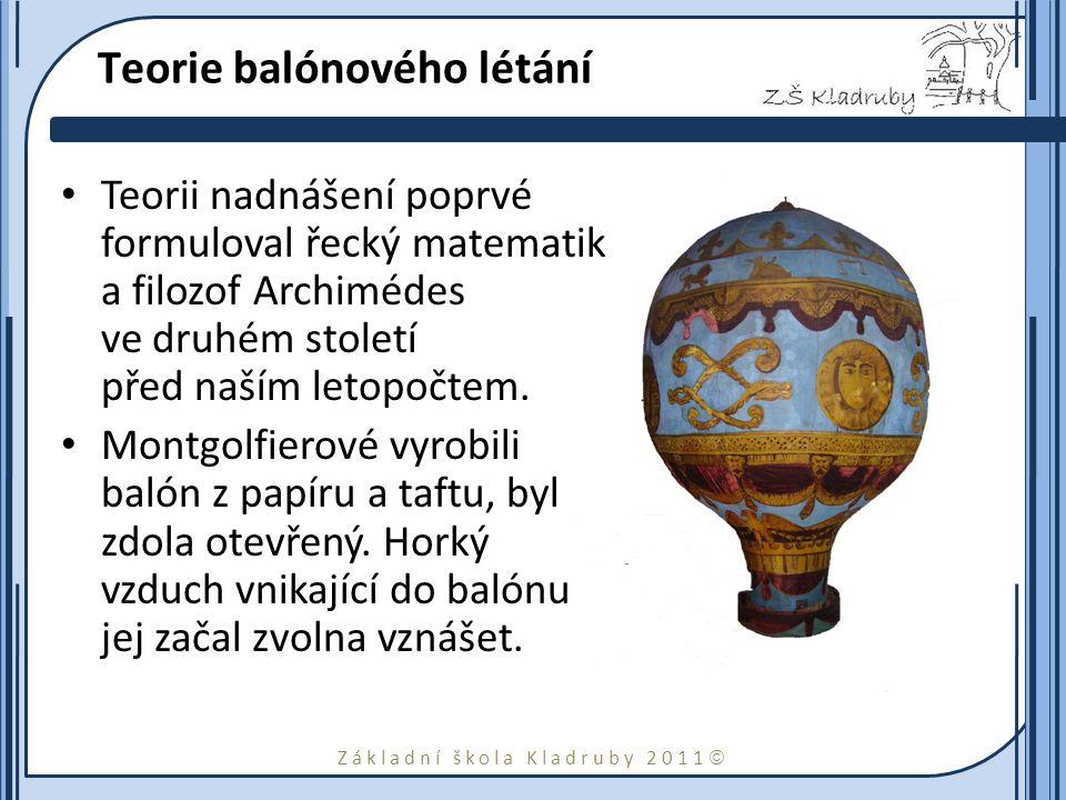 Základní škola Kladruby 2011  Teorie balónového létání Teorii nadnášení poprvé formuloval řecký matematik a filozof Archimédes ve druhém století před