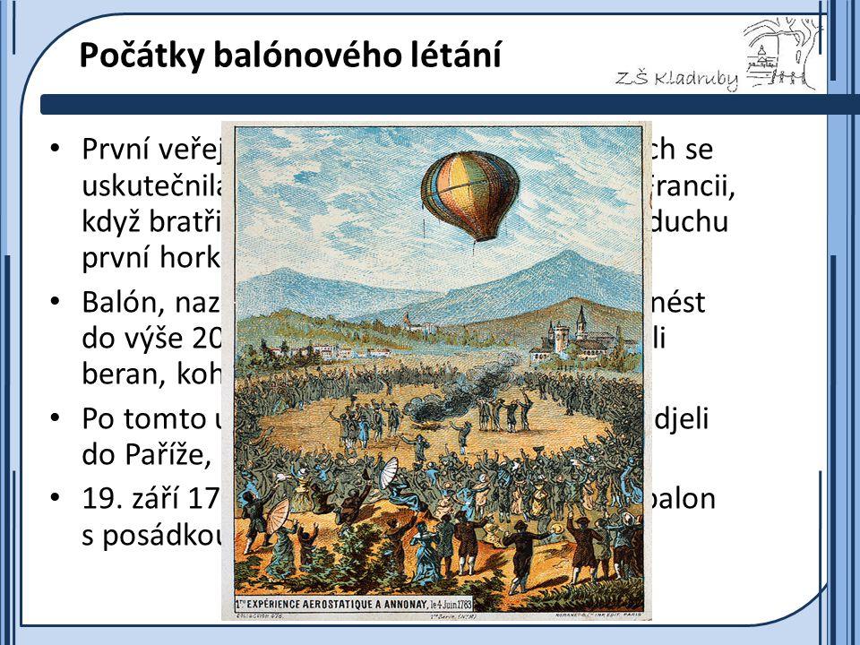 Základní škola Kladruby 2011  Počátky balónového létání První veřejná ukázka letu balónu než vzduch se uskutečnila 5. června 1783 v Annonay ve Franci