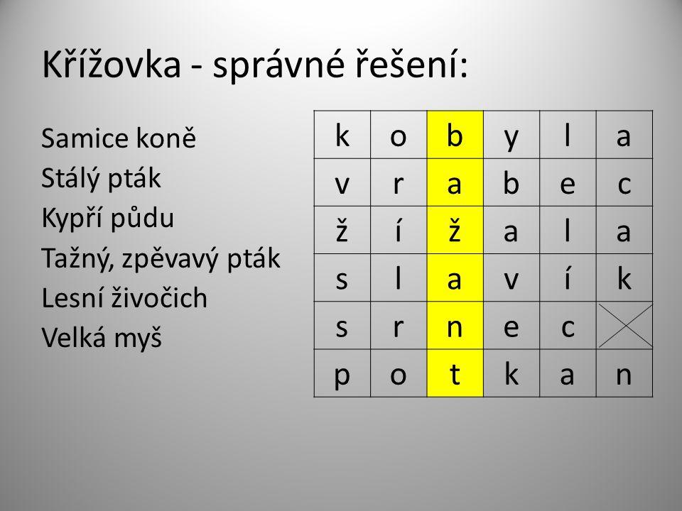 Test – správné řešení: 1 c, 2 a, 3 b, 4 a, 5 c, 6 b