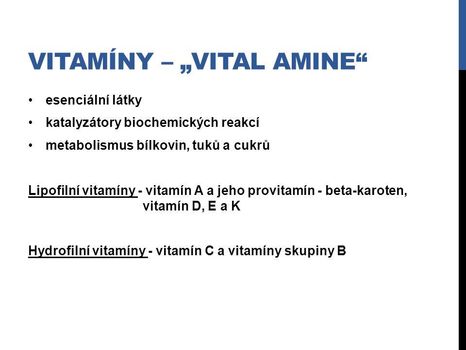 """VITAMÍNY – """"VITAL AMINE"""" esenciální látky katalyzátory biochemických reakcí metabolismus bílkovin, tuků a cukrů Lipofilní vitamíny - vitamín A a jeho"""