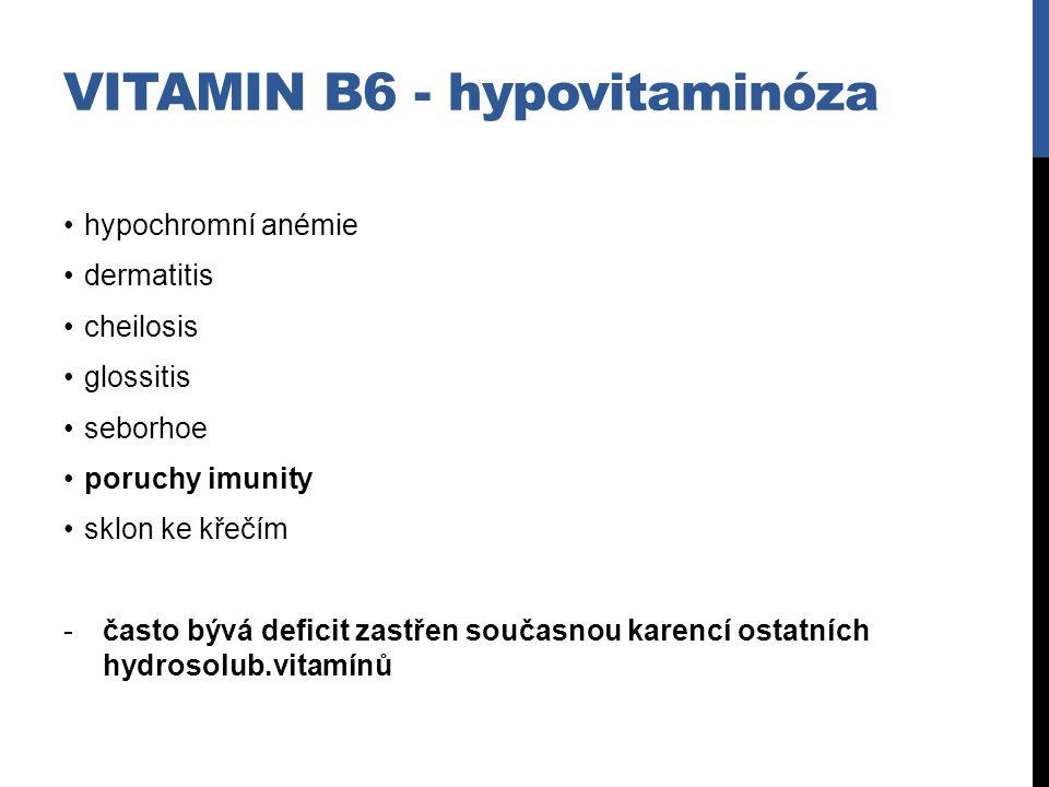 hypochromní anémie dermatitis cheilosis glossitis seborhoe poruchy imunity sklon ke křečím -často bývá deficit zastřen současnou karencí ostatních hyd