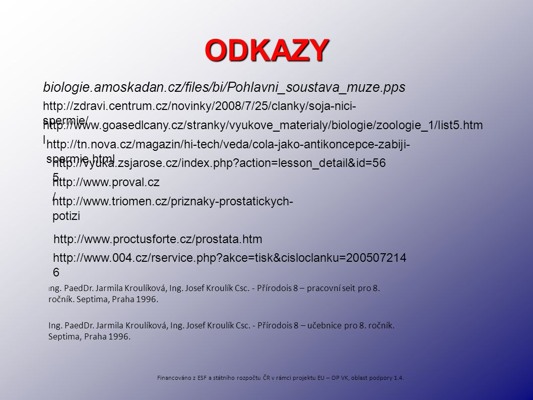 ODKAZY biologie.amoskadan.cz/files/bi/Pohlavni_soustava_muze.pps http://zdravi.centrum.cz/novinky/2008/7/25/clanky/soja-nici- spermie/ http://www.goas