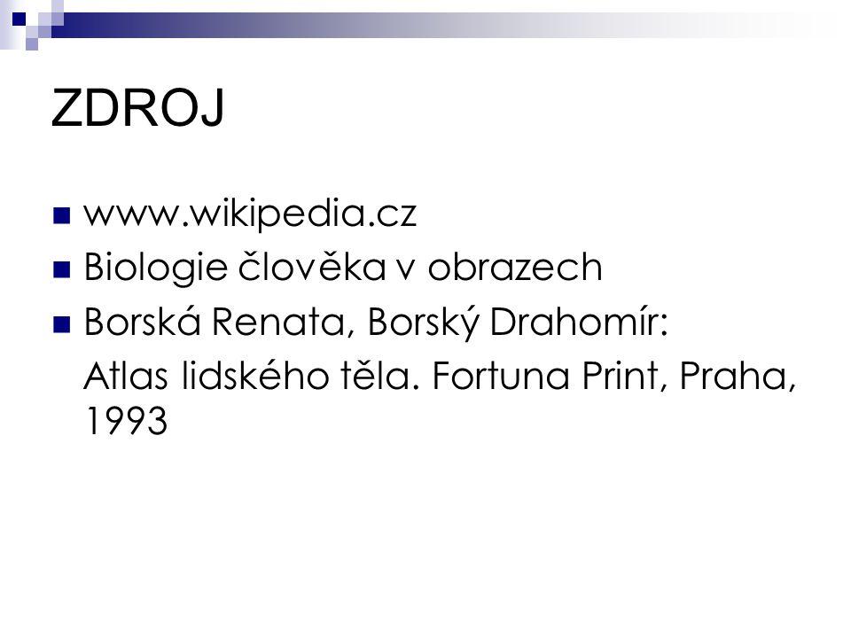 ZDROJ www.wikipedia.cz Biologie člověka v obrazech Borská Renata, Borský Drahomír: Atlas lidského těla.
