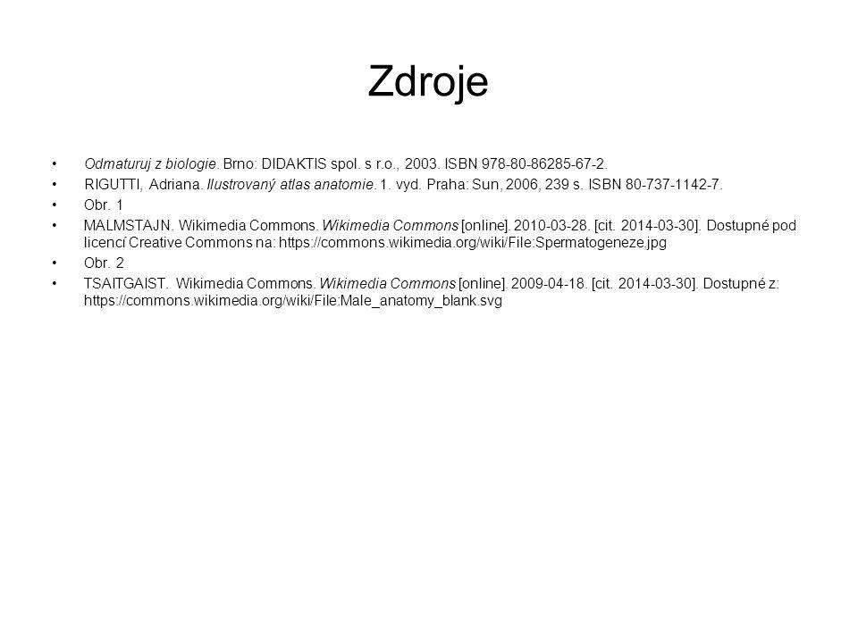 Zdroje Odmaturuj z biologie.Brno: DIDAKTIS spol. s r.o., 2003.