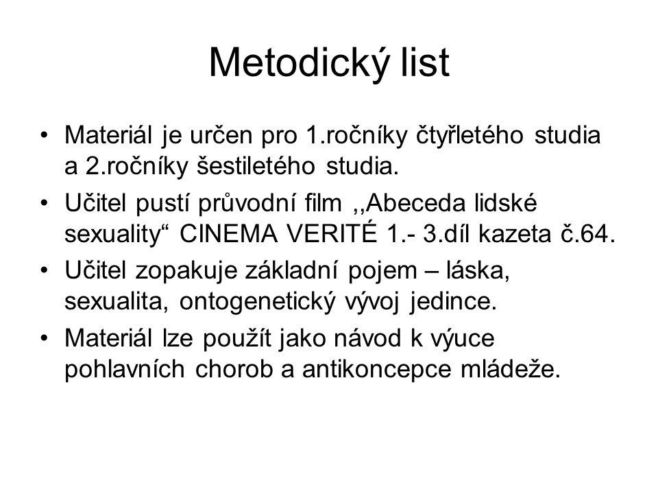 Metodický list Materiál je určen pro 1.ročníky čtyřletého studia a 2.ročníky šestiletého studia.