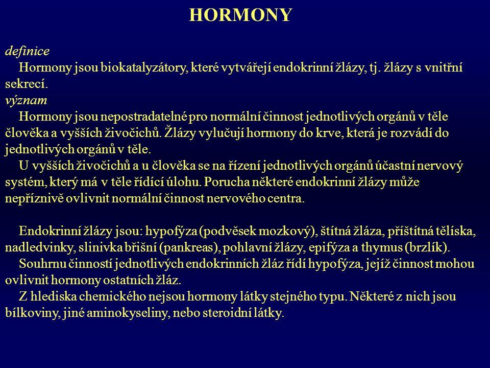 HORMONY definice Hormony jsou biokatalyzátory, které vytvářejí endokrinní žlázy, tj.