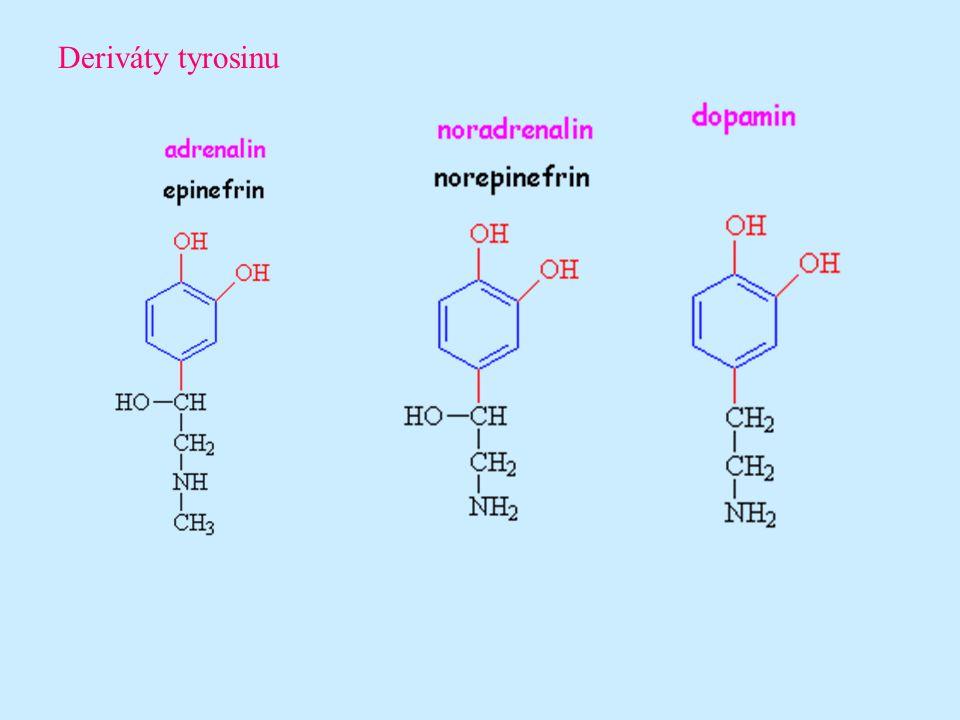 Hormony povahy peptidů a bílkovin (černě značeny aminokyseliny a červeně prvky)