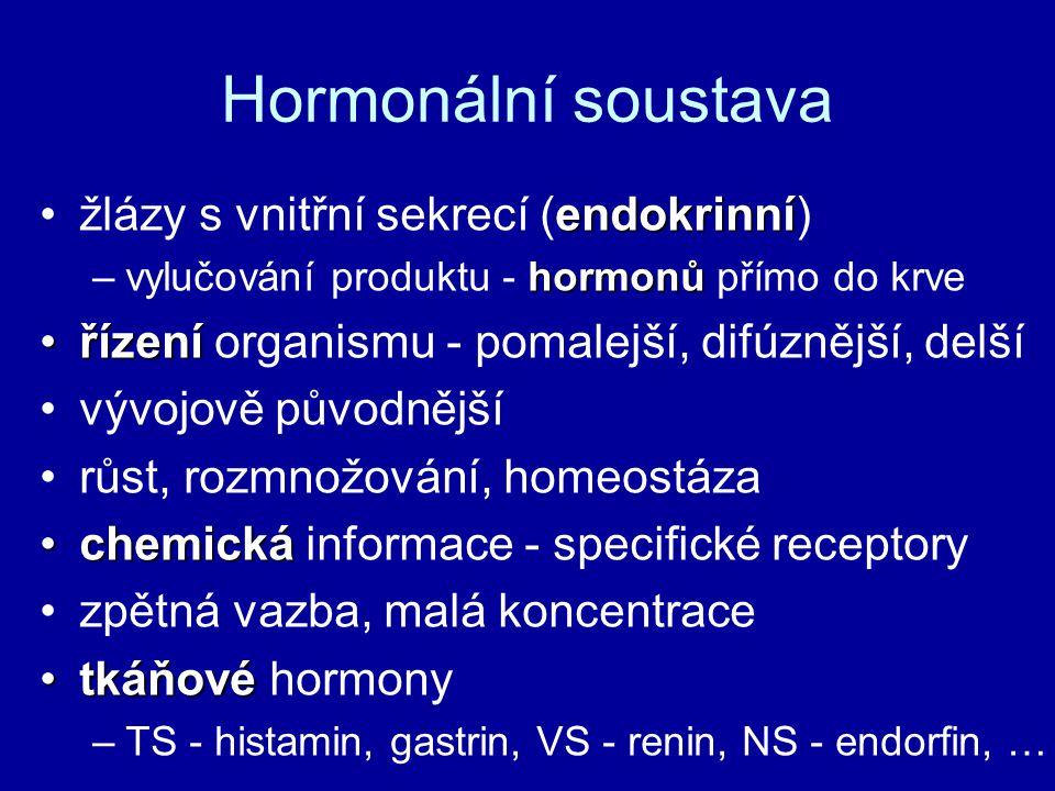 Hormonální soustava endokrinnížlázy s vnitřní sekrecí (endokrinní) hormonů –vylučování produktu - hormonů přímo do krve řízenířízení organismu - pomalejší, difúznější, delší vývojově původnější růst, rozmnožování, homeostáza chemickáchemická informace - specifické receptory zpětná vazba, malá koncentrace tkáňovétkáňové hormony –TS - histamin, gastrin, VS - renin, NS - endorfin, …