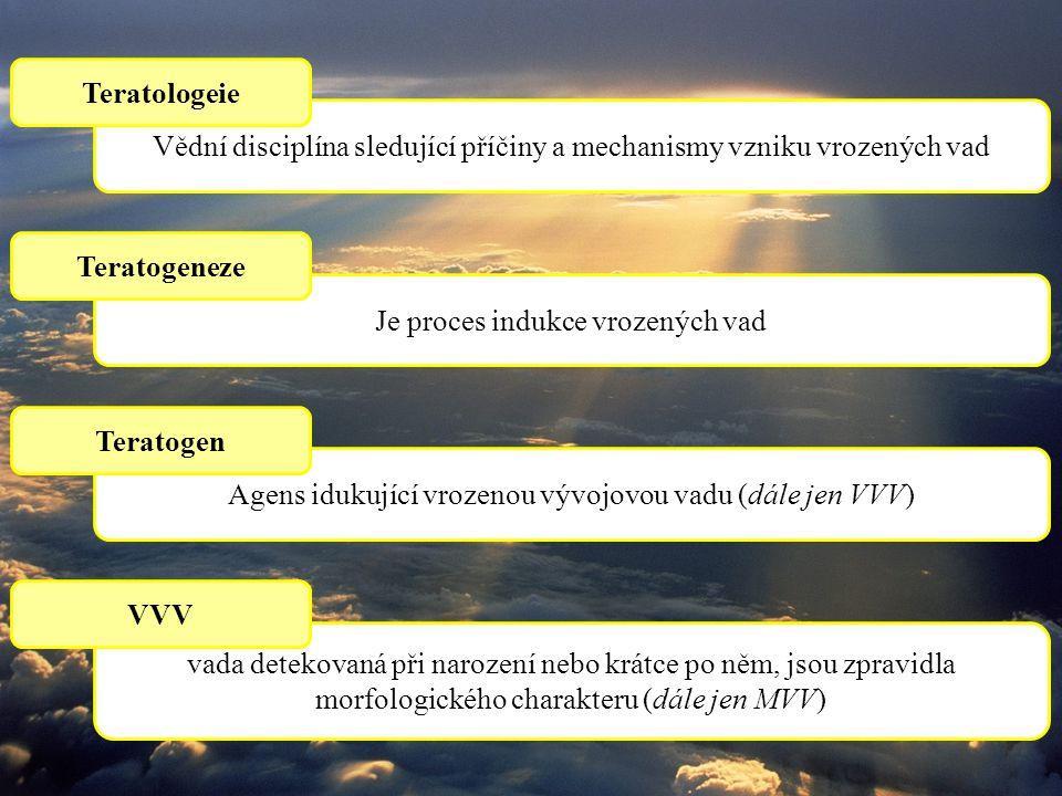 Vědní disciplína sledující příčiny a mechanismy vzniku vrozených vad Teratologeie Je proces indukce vrozených vad Teratogeneze Agens idukující vrozenou vývojovou vadu (dále jen VVV) Teratogen vada detekovaná při narození nebo krátce po něm, jsou zpravidla morfologického charakteru (dále jen MVV) VVV