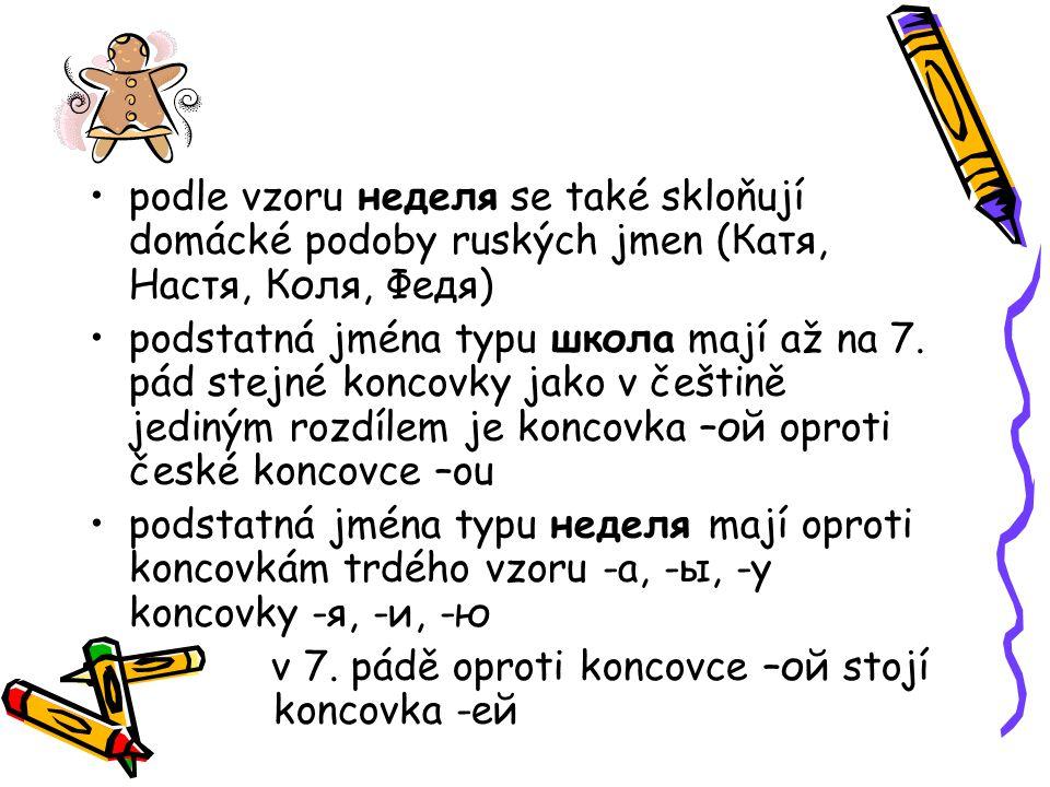 podle vzoru неделя se také skloňují domácké podoby ruských jmen (Катя, Настя, Коля, Федя) podstatná jména typu школа mají až na 7.
