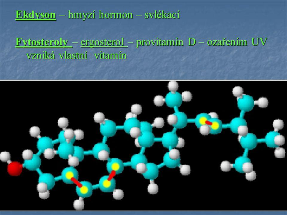 Ekdyson – hmyzí hormon – svlékací Fytosteroly – ergosterol – provitamín D – ozařením UV vzniká vlastní vitamín