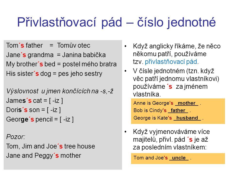 Přivlastňovací pád – číslo jednotné Tom´s father = Tomův otec Jane´s grandma = Janina babička My brother´s bed = postel mého bratra His sister´s dog = pes jeho sestry Výslovnost u jmen končících na -s,-ž James´s cat = [ -iz ] Doris´s son = [ -iz ] George´s pencil = [ -iz ] Pozor: Tom, Jim and Joe´s tree house Jane and Peggy´s mother Když anglicky říkáme, že něco někomu patří, používáme tzv.
