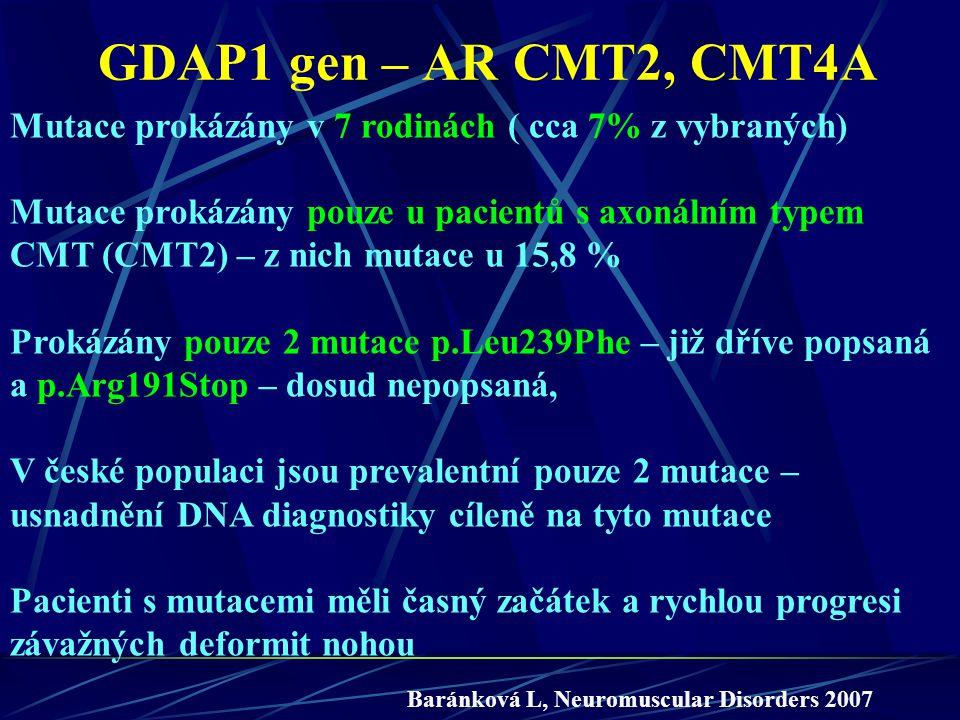 GDAP1 gen – AR CMT2, CMT4A Mutace prokázány v 7 rodinách ( cca 7% z vybraných) Mutace prokázány pouze u pacientů s axonálním typem CMT (CMT2) – z nich