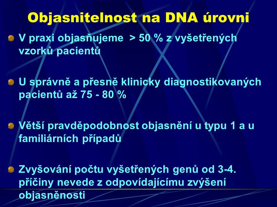 Objasnitelnost na DNA úrovni V praxi objasňujeme > 50 % z vyšetřených vzorků pacientů U správně a přesně klinicky diagnostikovaných pacientů až 75 - 8