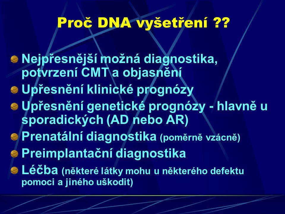 Proč DNA vyšetření ?? Nejpřesnější možná diagnostika, potvrzení CMT a objasnění Upřesnění klinické prognózy Upřesnění genetické prognózy - hlavně u sp