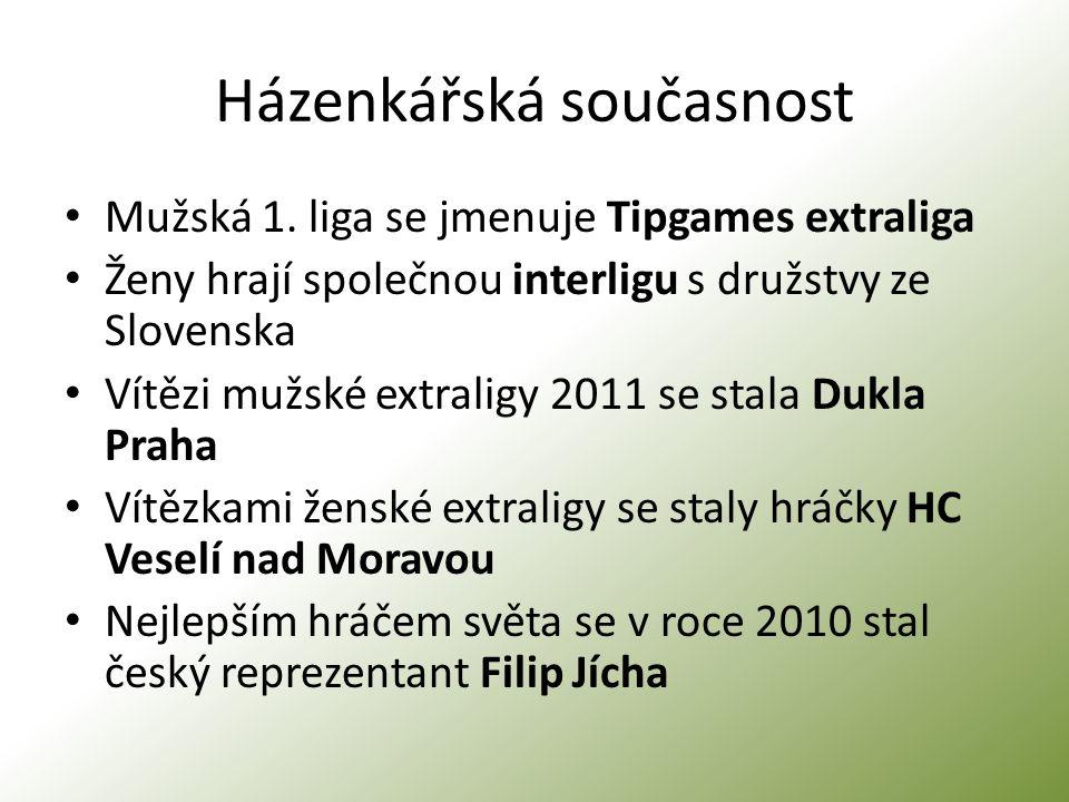 Házenkářská současnost Mužská 1. liga se jmenuje Tipgames extraliga Ženy hrají společnou interligu s družstvy ze Slovenska Vítězi mužské extraligy 201