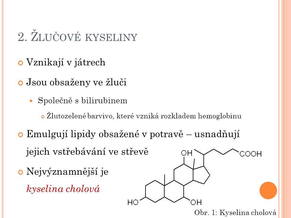 2. Ž LUČOVÉ KYSELINY Vznikají v játrech Jsou obsaženy ve žluči Společně s bilirubinem Žlutozelené barvivo, které vzniká rozkladem hemoglobinu Emulgují