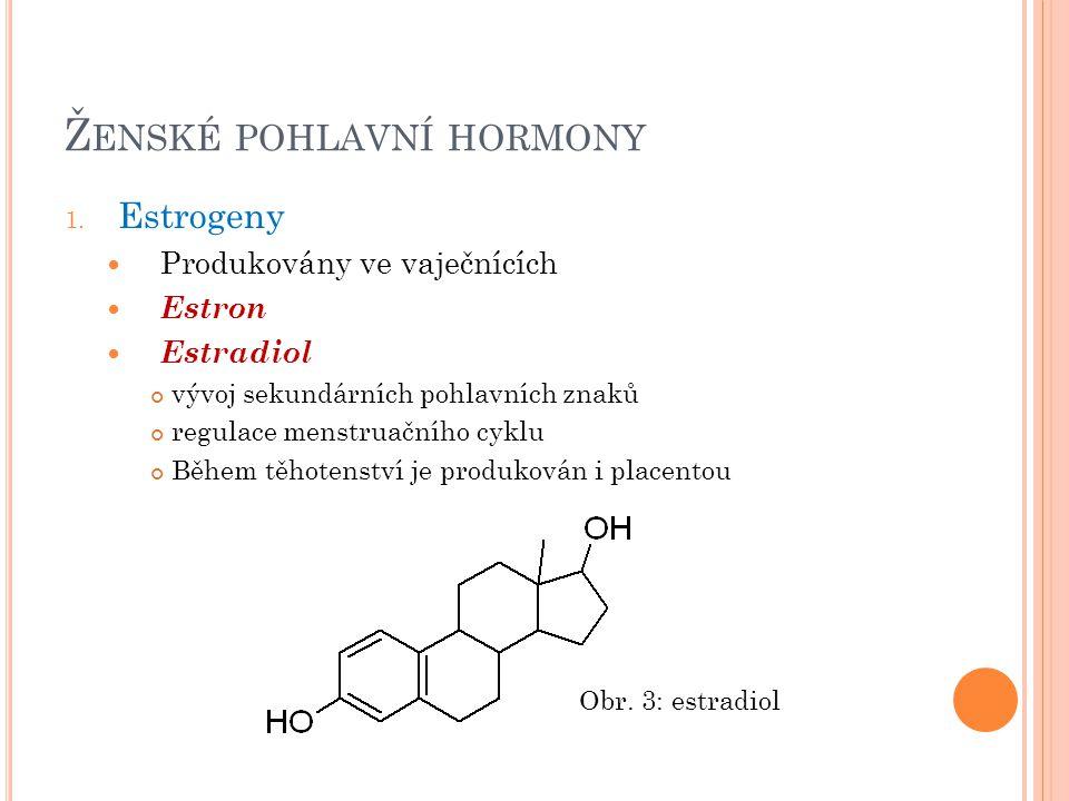 Ž ENSKÉ POHLAVNÍ HORMONY 1. Estrogeny Produkovány ve vaječnících Estron Estradiol vývoj sekundárních pohlavních znaků regulace menstruačního cyklu Běh
