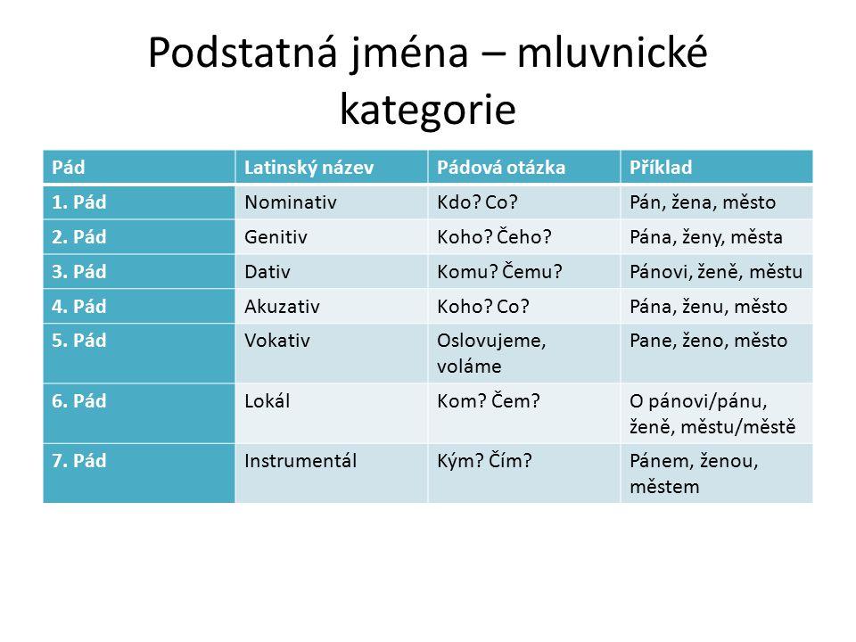 Podstatná jména – mluvnické kategorie PádLatinský názevPádová otázkaPříklad 1.