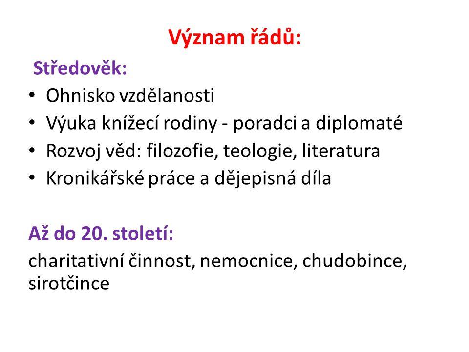 Církevní řády v Čechách, na Moravě a ve Slezsku působící od 10.