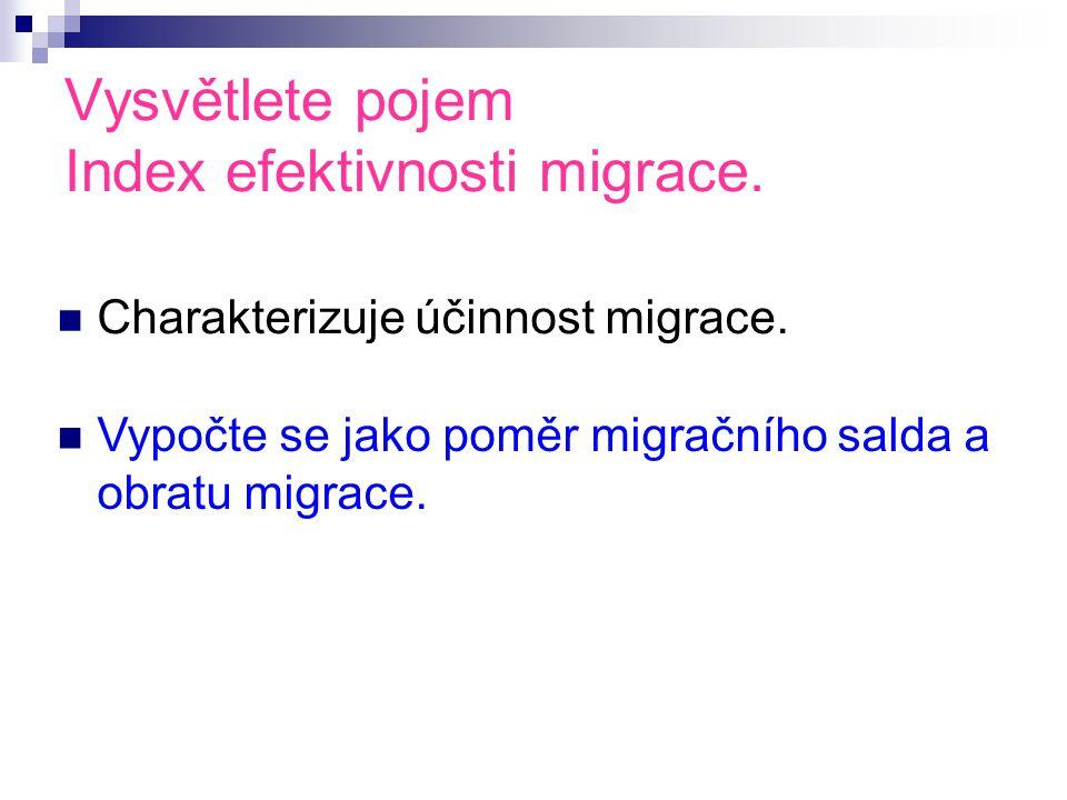 Vysvětlete pojem Index efektivnosti migrace. Charakterizuje účinnost migrace.