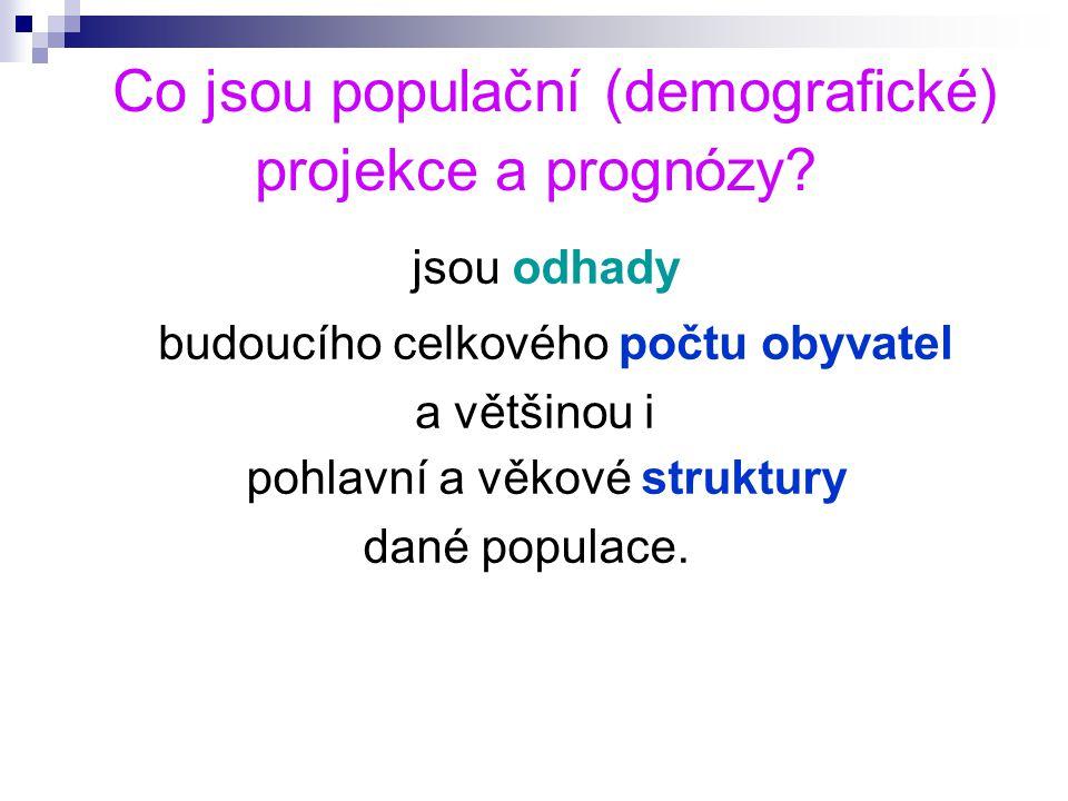 Co jsou populační (demografické) projekce a prognózy.