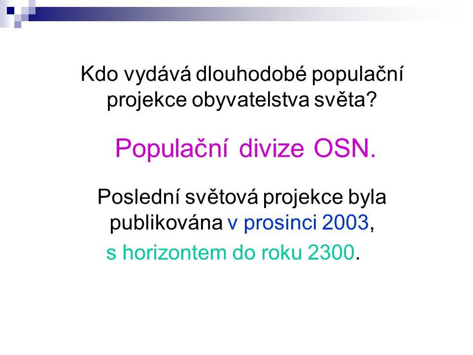 Kdo vydává dlouhodobé populační projekce obyvatelstva světa.