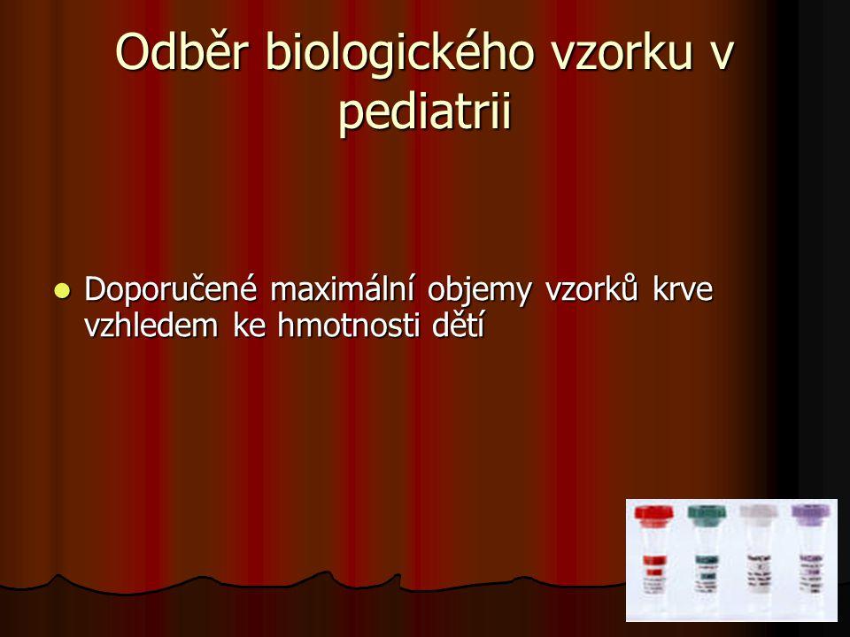 26 Odběr biologického vzorku v pediatrii Doporučené maximální objemy vzorků krve vzhledem ke hmotnosti dětí Doporučené maximální objemy vzorků krve vz