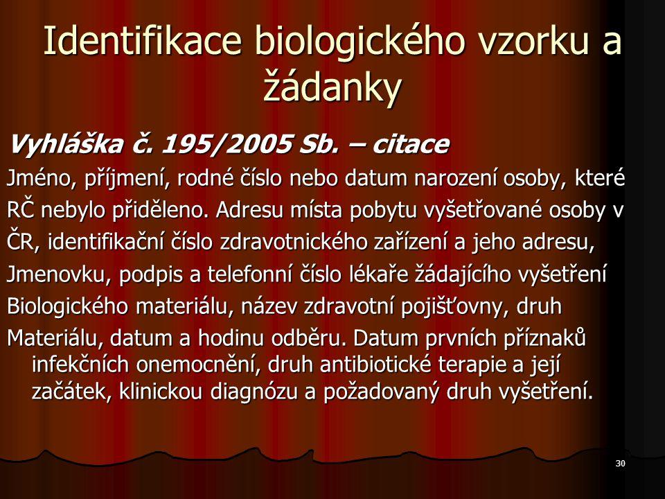 30 Identifikace biologického vzorku a žádanky Vyhláška č. 195/2005 Sb. – citace Jméno, příjmení, rodné číslo nebo datum narození osoby, které RČ nebyl