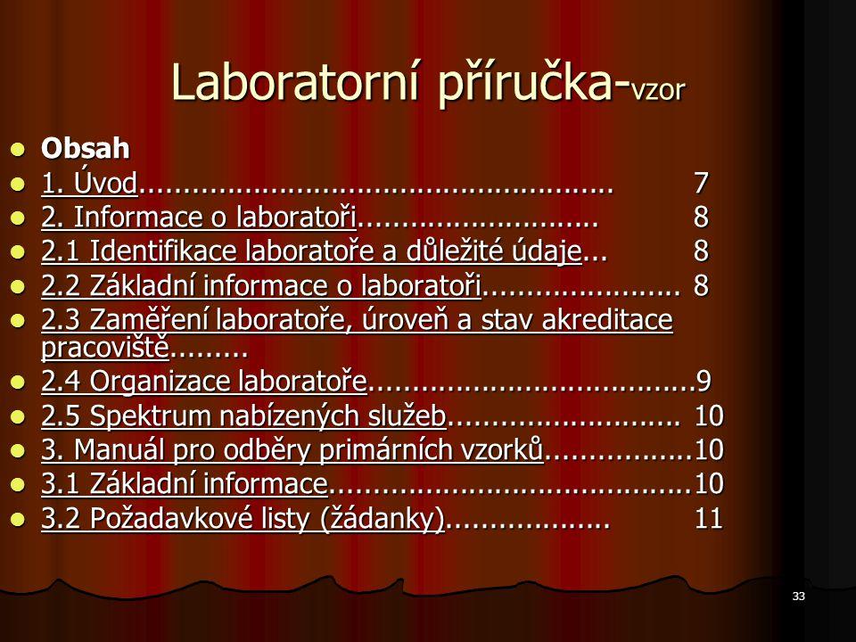33 Laboratorní příručka- vzor Obsah Obsah 1. Úvod.......................................................7 1. Úvod.....................................