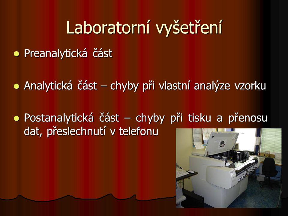 4 Laboratorní vyšetření Preanalytická část Preanalytická část Analytická část – chyby při vlastní analýze vzorku Analytická část – chyby při vlastní a