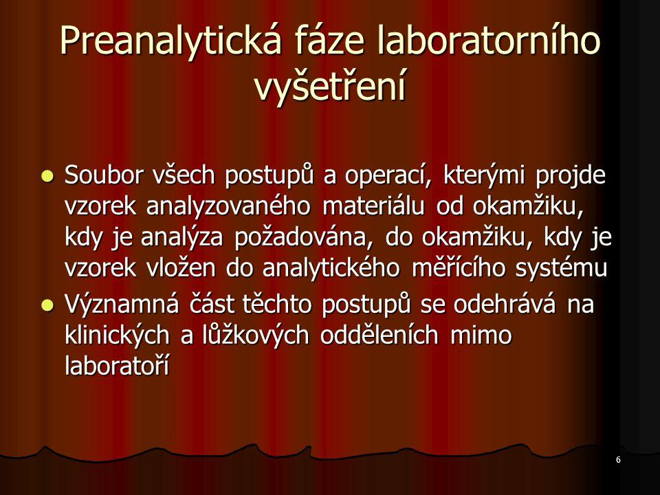 6 Preanalytická fáze laboratorního vyšetření Soubor všech postupů a operací, kterými projde vzorek analyzovaného materiálu od okamžiku, kdy je analýza
