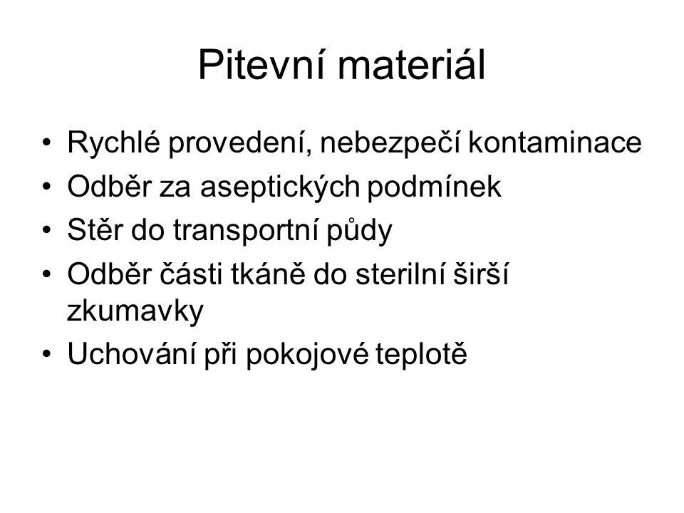 Pitevní materiál Rychlé provedení, nebezpečí kontaminace Odběr za aseptických podmínek Stěr do transportní půdy Odběr části tkáně do sterilní širší zk