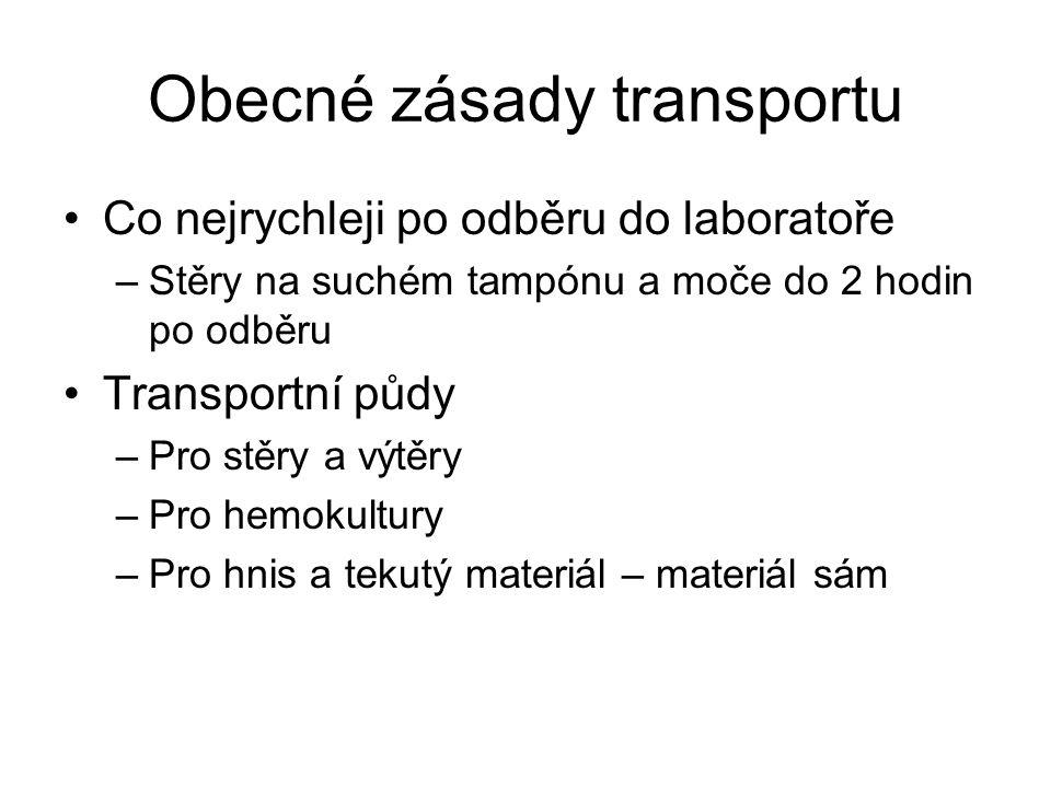 Obecné zásady transportu Co nejrychleji po odběru do laboratoře –Stěry na suchém tampónu a moče do 2 hodin po odběru Transportní půdy –Pro stěry a výt