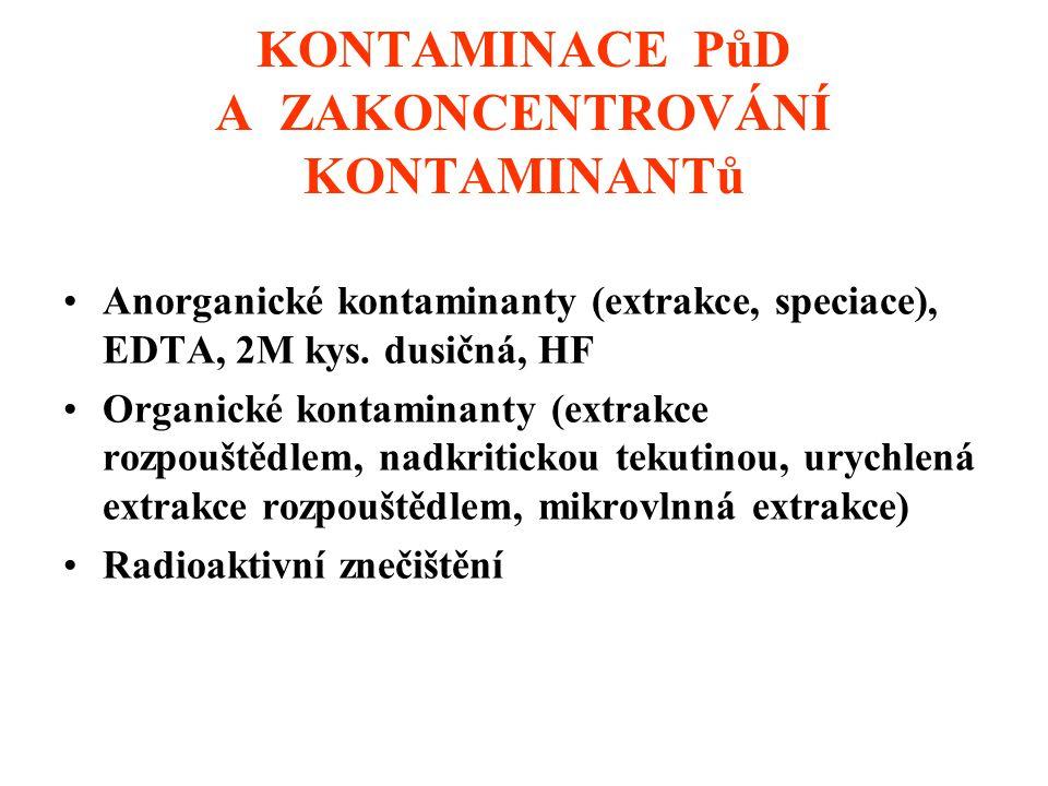 KONTAMINACE PůD A ZAKONCENTROVÁNÍ KONTAMINANTů Anorganické kontaminanty (extrakce, speciace), EDTA, 2M kys.
