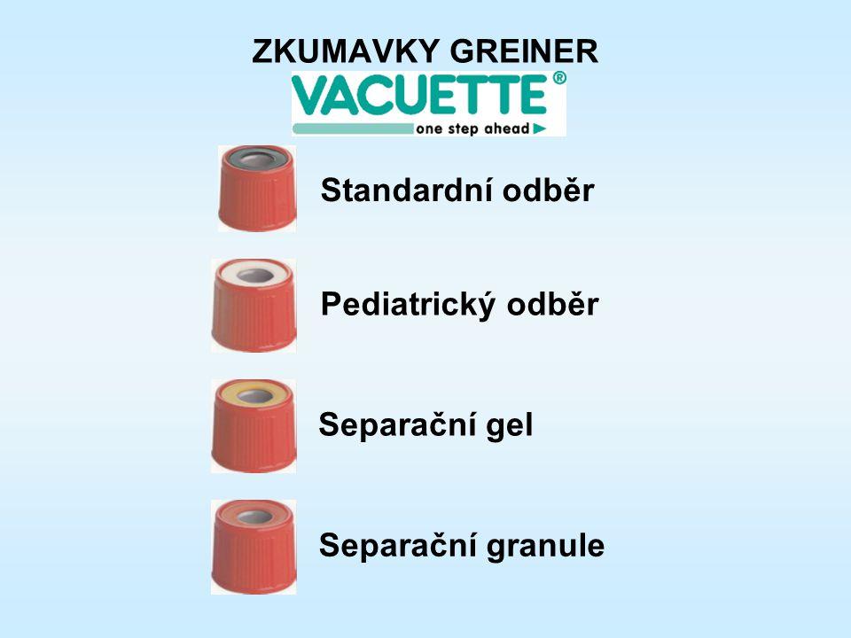 Pediatrický odběr Standardní odběr Separační gel Separační granule