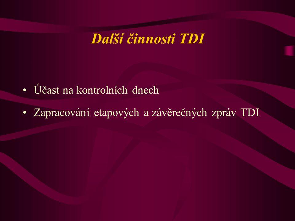 Další činnosti TDI Účast na kontrolních dnech Zapracování etapových a závěrečných zpráv TDI