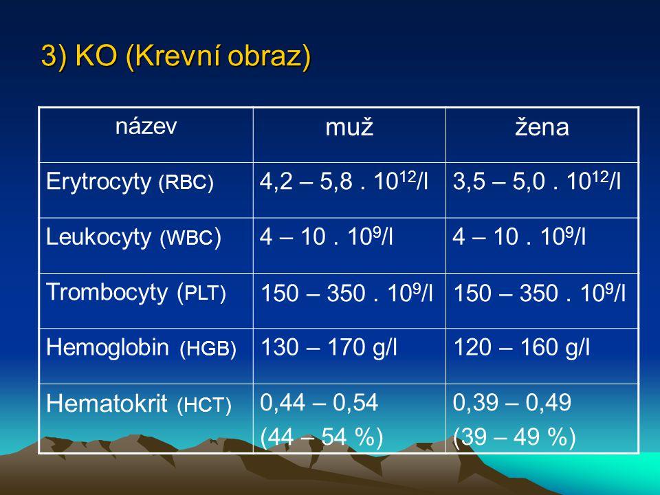 3) KO (Krevní obraz) název mužžena Erytrocyty (RBC) 4,2 – 5,8.