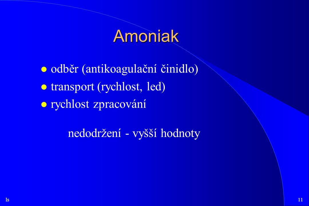ls11 Amoniak l odběr (antikoagulační činidlo) l transport (rychlost, led) l rychlost zpracování nedodržení - vyšší hodnoty