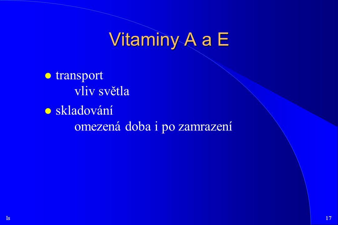 ls17 Vitaminy A a E l transport vliv světla l skladování omezená doba i po zamrazení