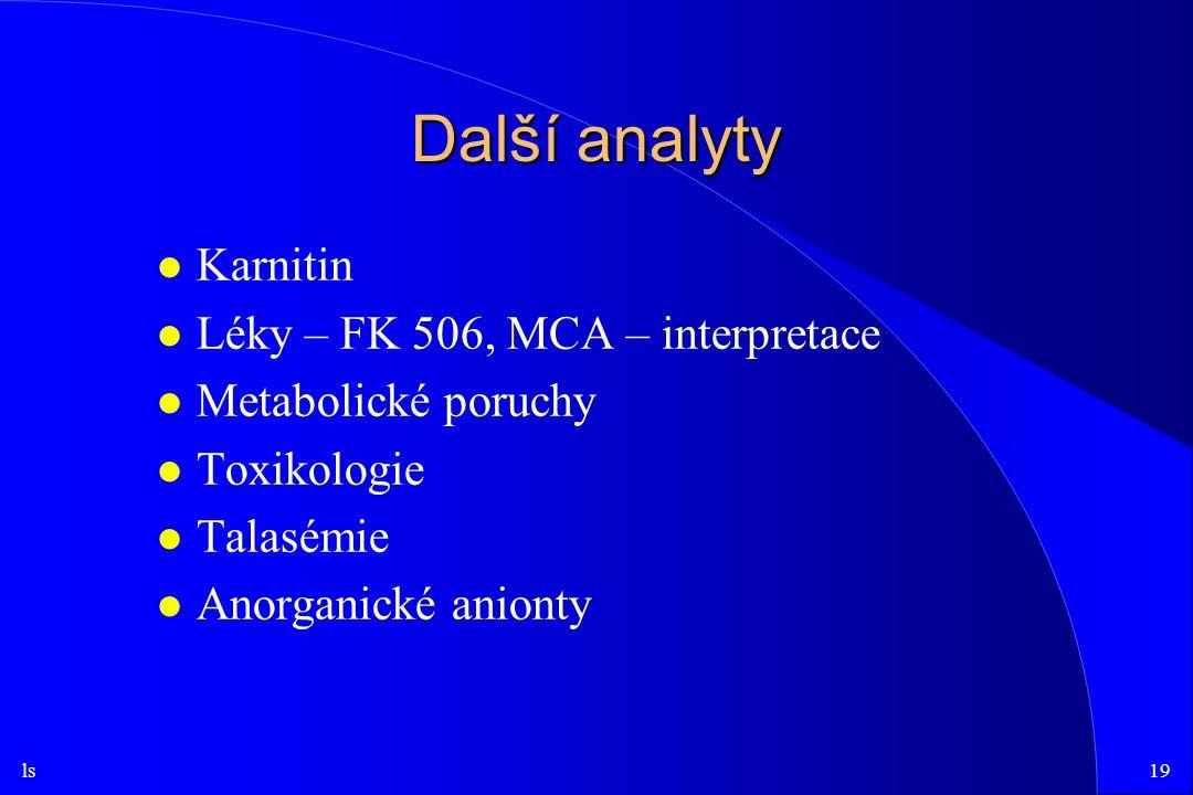 ls19 Další analyty l Karnitin l Léky – FK 506, MCA – interpretace l Metabolické poruchy l Toxikologie l Talasémie l Anorganické anionty